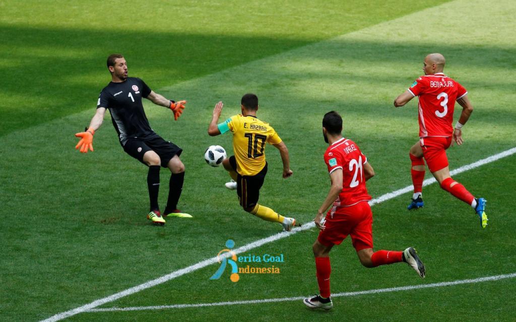 Hujan Gol, Belgia vs Tunisia 5-2