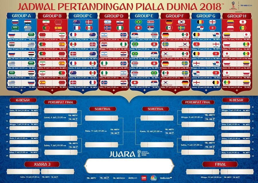 Jadwal Piala Dunia 2018 Ter-Update