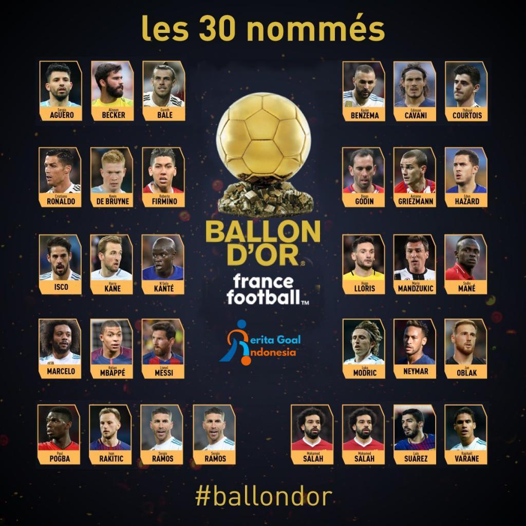 30 Kandidat Ballon d Or 2018